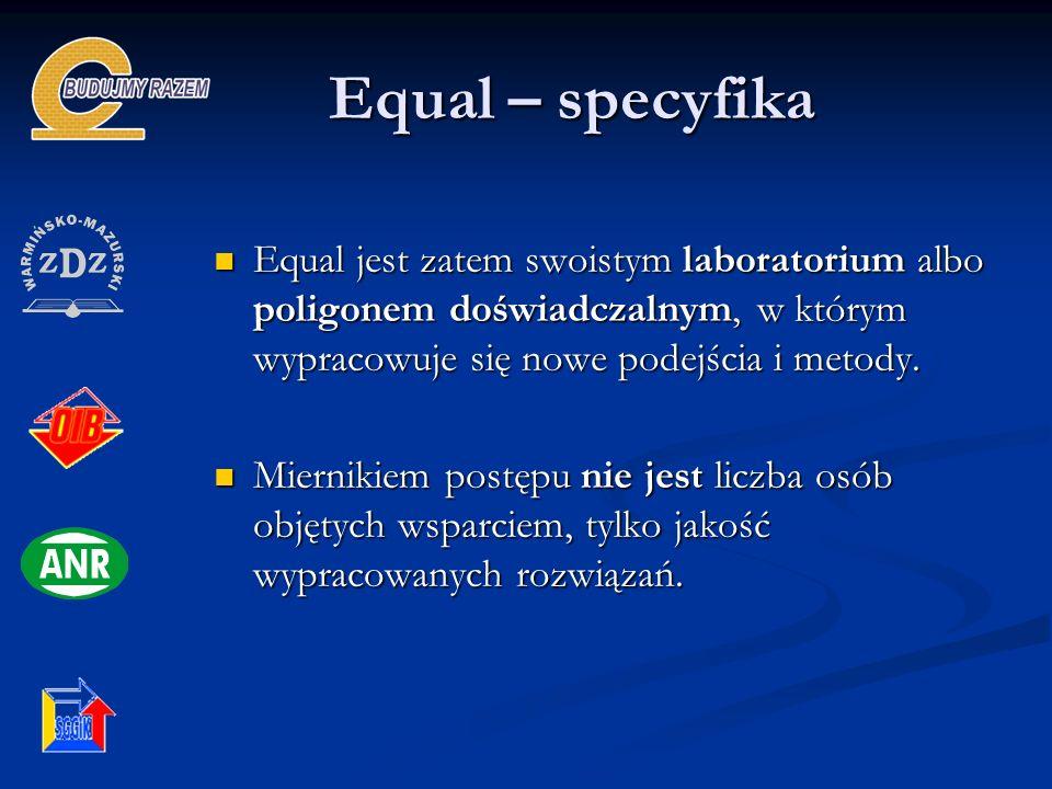 Equal – specyfika Equal jest zatem swoistym laboratorium albo poligonem doświadczalnym, w którym wypracowuje się nowe podejścia i metody.