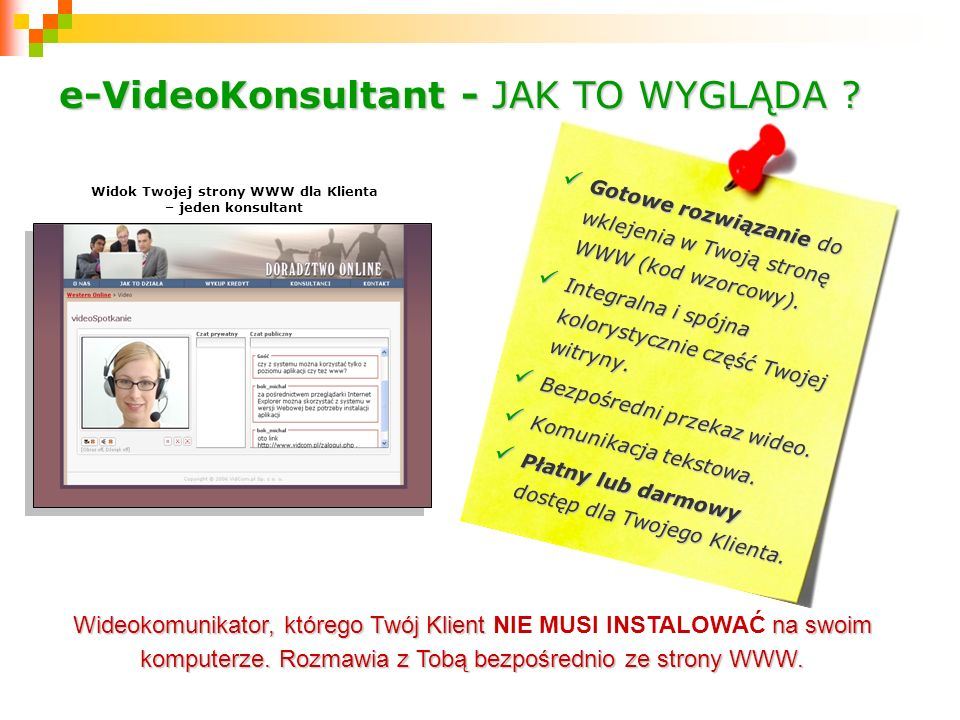 Widok Twojej strony WWW dla Klienta – jeden konsultant