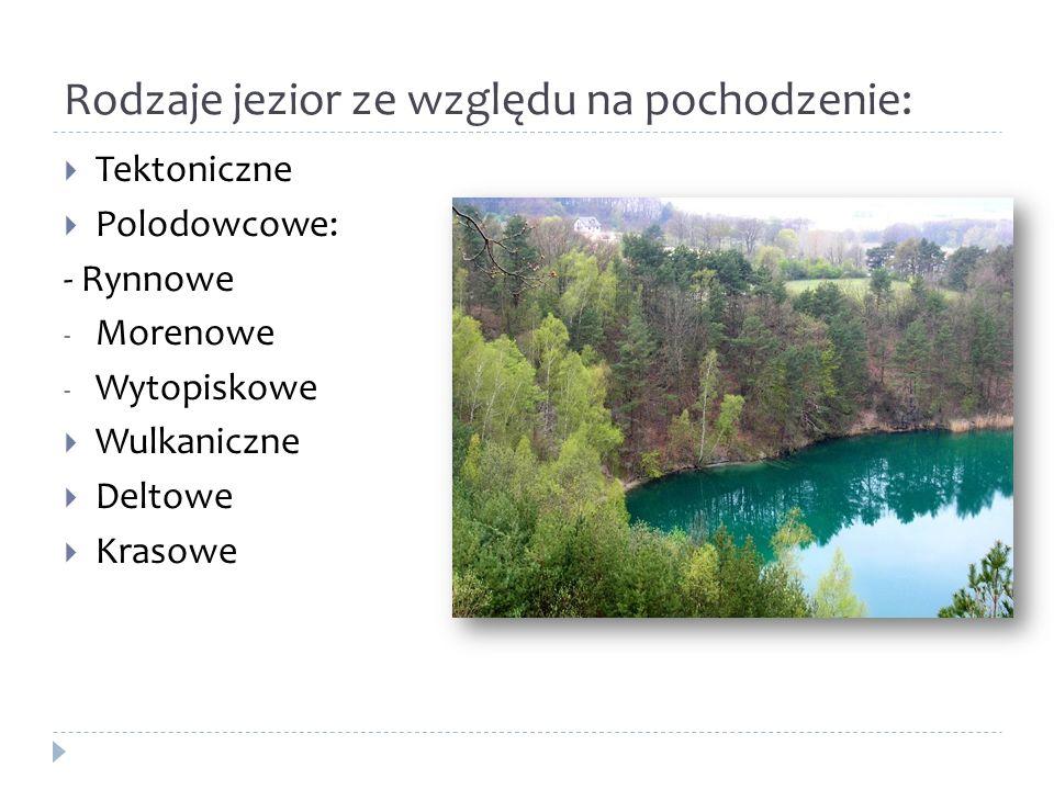 Rodzaje jezior ze względu na pochodzenie: