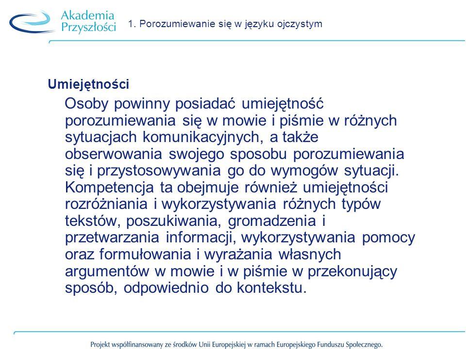 1. Porozumiewanie się w języku ojczystym