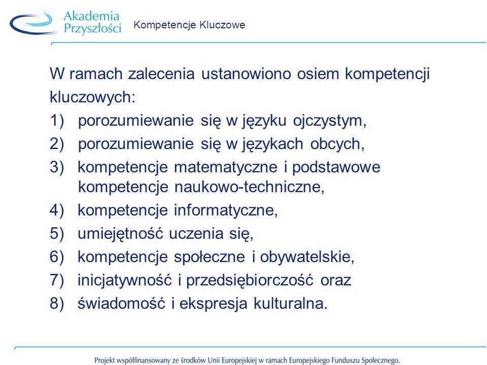 W ramach zalecenia ustanowiono osiem kompetencji kluczowych: