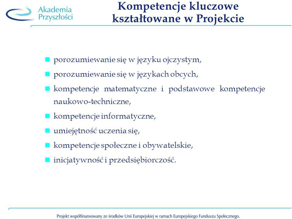 Kompetencje kluczowe kształtowane w Projekcie