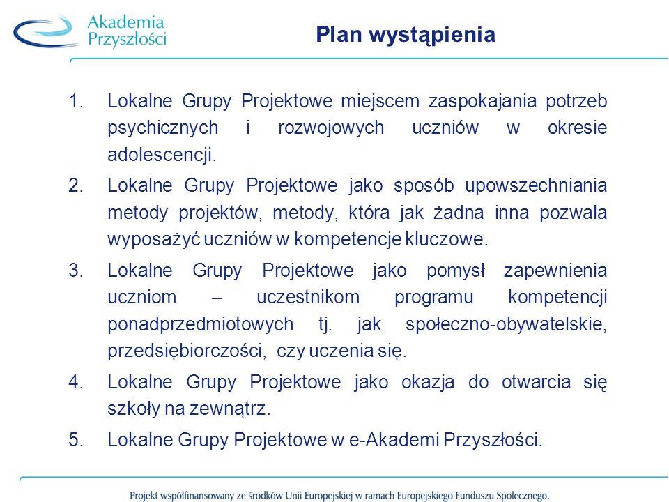 Plan wystąpienia Lokalne Grupy Projektowe miejscem zaspokajania potrzeb psychicznych i rozwojowych uczniów w okresie adolescencji.
