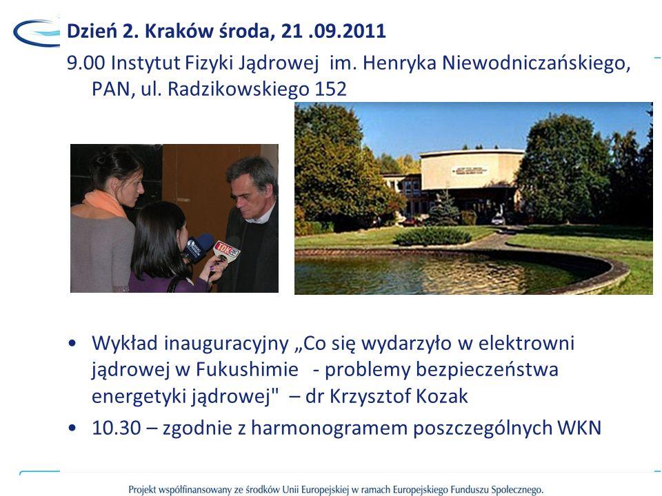 Dzień 2. Kraków środa, 21 .09.2011 9.00 Instytut Fizyki Jądrowej im. Henryka Niewodniczańskiego, PAN, ul. Radzikowskiego 152.