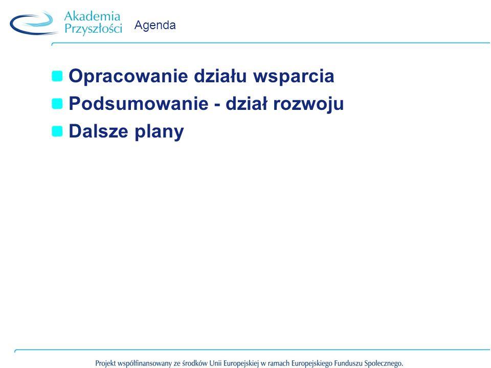 Opracowanie działu wsparcia Podsumowanie - dział rozwoju Dalsze plany