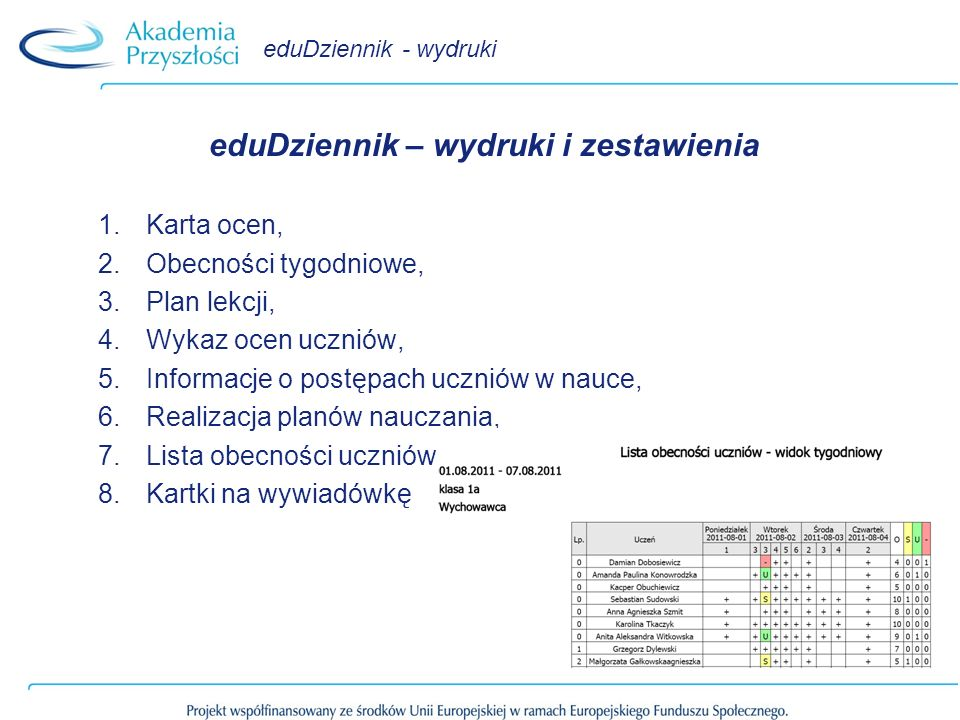 eduDziennik – wydruki i zestawienia
