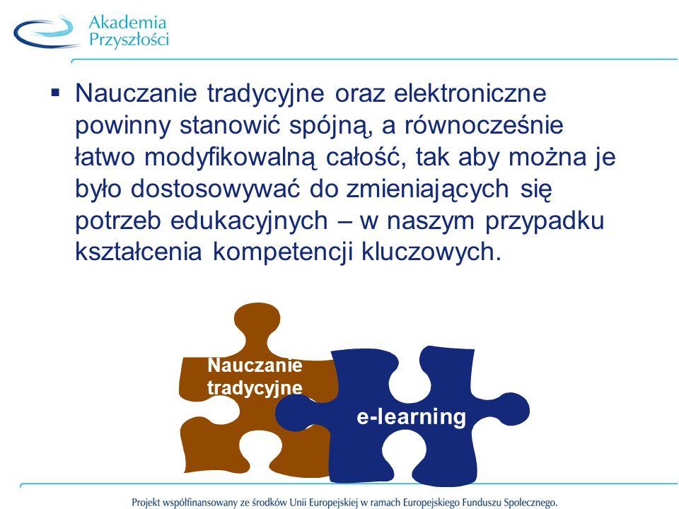 Nauczanie tradycyjne oraz elektroniczne powinny stanowić spójną, a równocześnie łatwo modyfikowalną całość, tak aby można je było dostosowywać do zmieniających się potrzeb edukacyjnych – w naszym przypadku kształcenia kompetencji kluczowych.