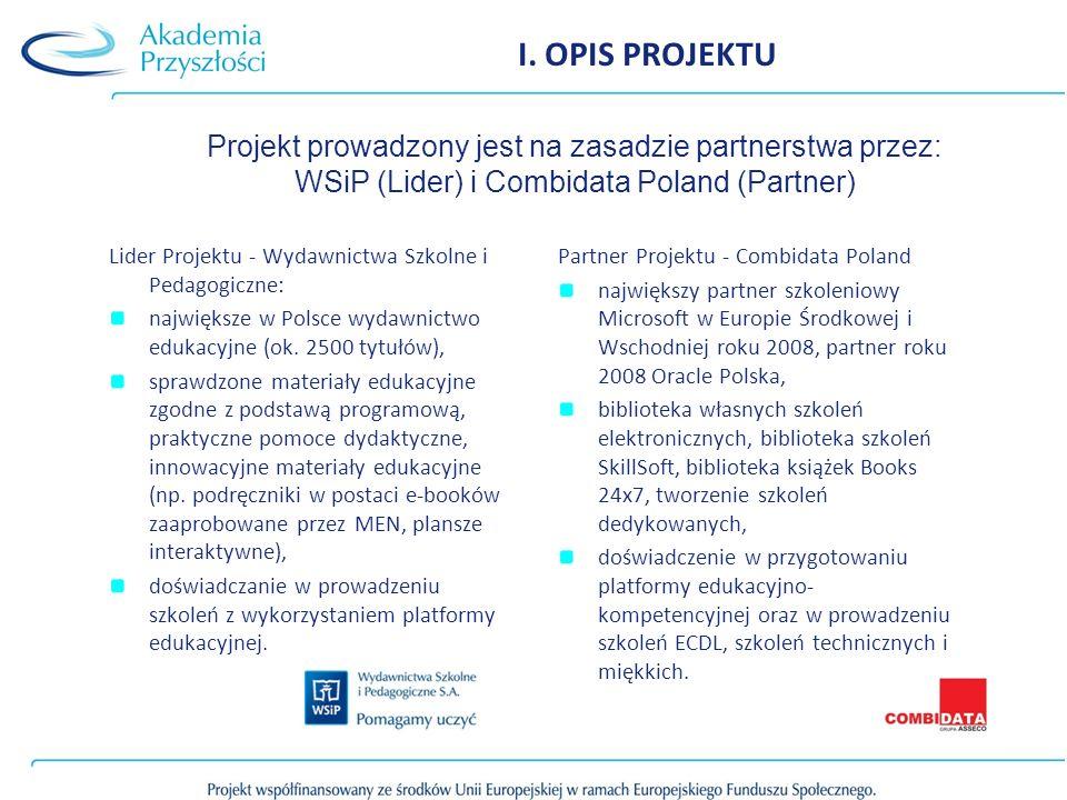 I. OPIS PROJEKTU Projekt prowadzony jest na zasadzie partnerstwa przez: WSiP (Lider) i Combidata Poland (Partner)