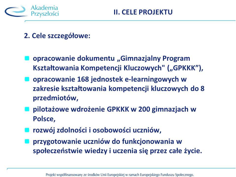 """II. CELE PROJEKTU 2. Cele szczegółowe: opracowanie dokumentu """"Gimnazjalny Program Kształtowania Kompetencji Kluczowych (""""GPKKK ),"""