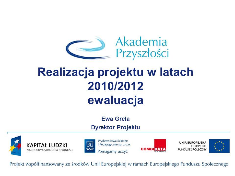Realizacja projektu w latach 2010/2012 ewaluacja