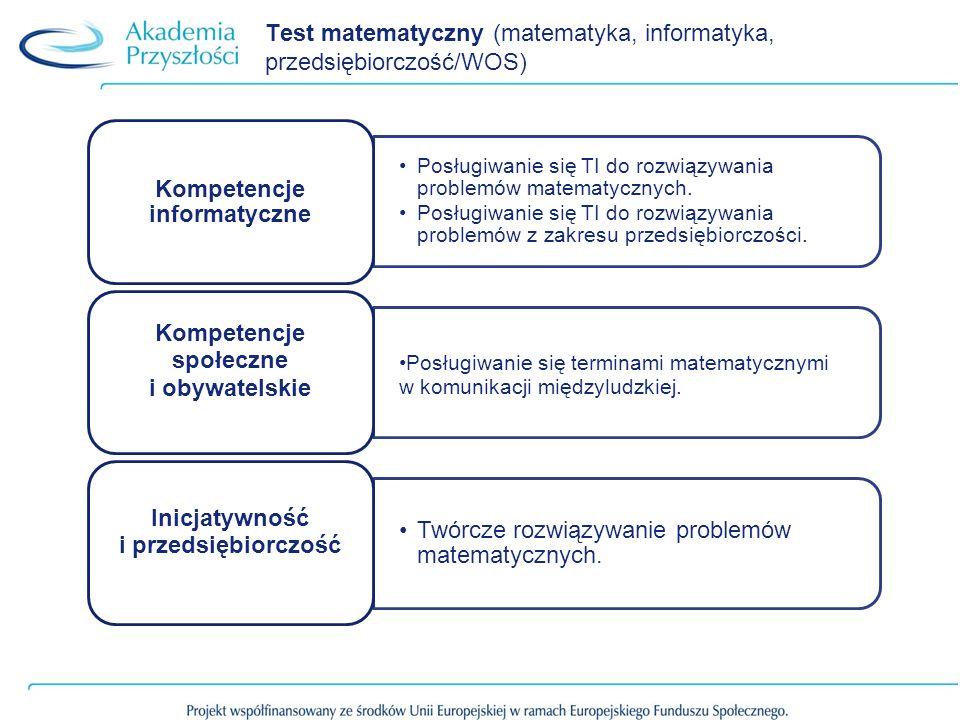 Test matematyczny (matematyka, informatyka, przedsiębiorczość/WOS)