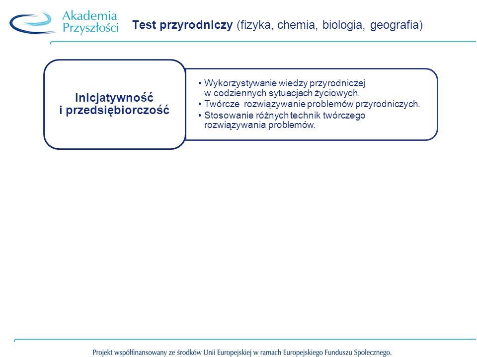 Test przyrodniczy (fizyka, chemia, biologia, geografia)