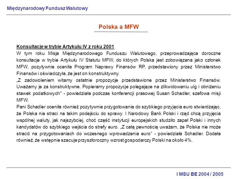 Polska a MFW Konsultacje w trybie Artykułu IV z roku 2001