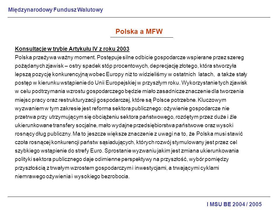 Polska a MFW Konsultacje w trybie Artykułu IV z roku 2003