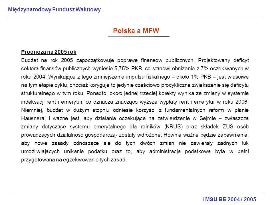 Polska a MFW Prognoza na 2005 rok