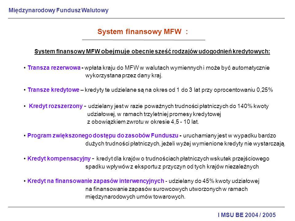 System finansowy MFW : System finansowy MFW obejmuje obecnie sześć rodzajów udogodnień kredytowych: