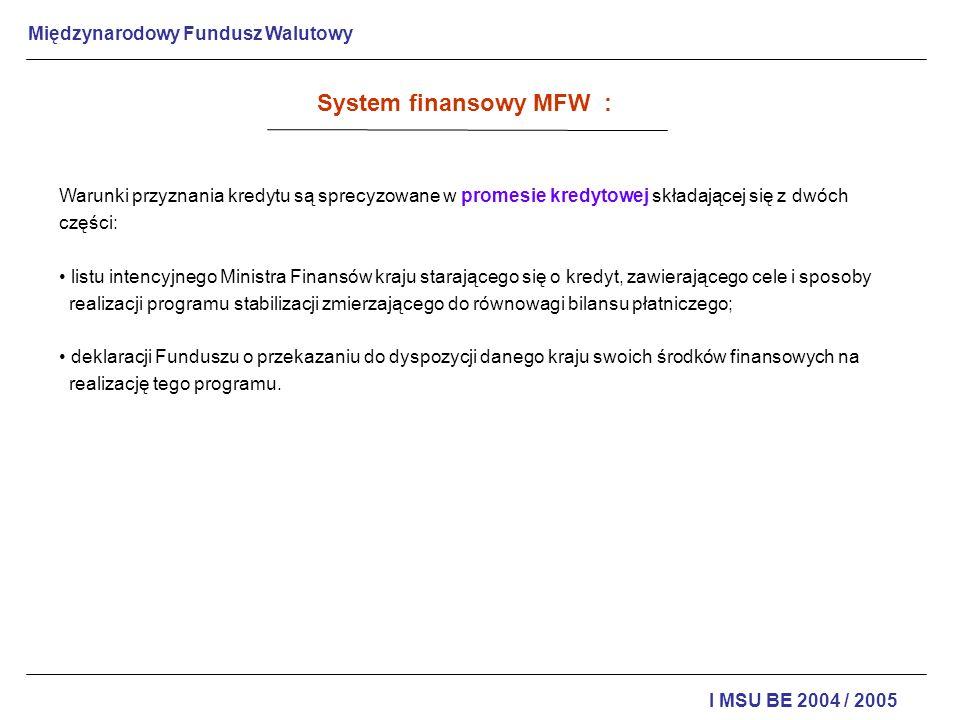 System finansowy MFW : Warunki przyznania kredytu są sprecyzowane w promesie kredytowej składającej się z dwóch części: