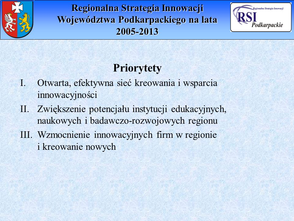 Regionalna Strategia Innowacji Województwa Podkarpackiego na lata 2005-2013