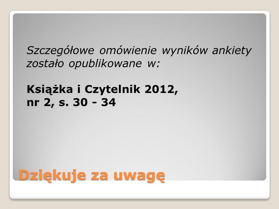 Szczegółowe omówienie wyników ankiety zostało opublikowane w: Książka i Czytelnik 2012, nr 2, s. 30 - 34