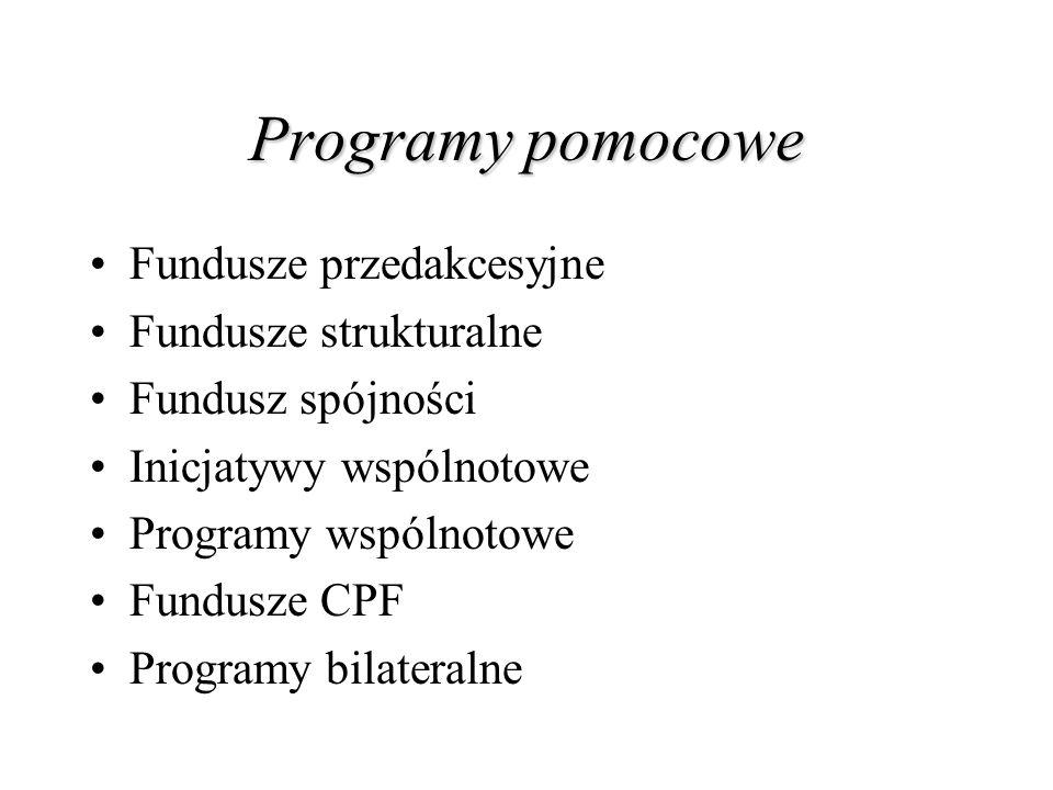 Programy pomocowe Fundusze przedakcesyjne Fundusze strukturalne