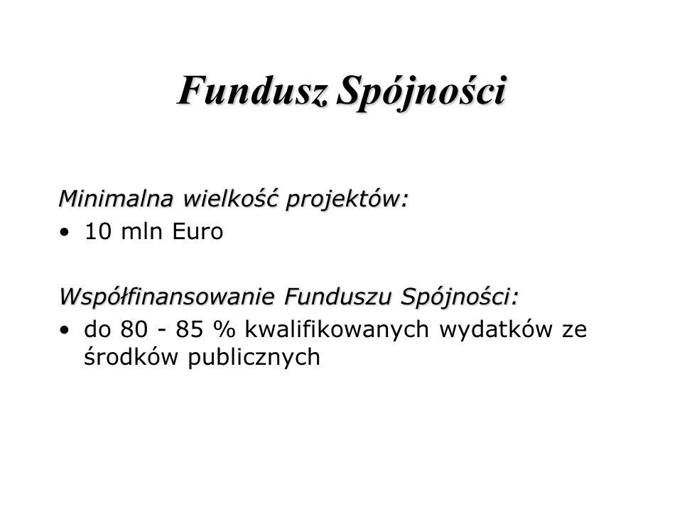 Fundusz Spójności Minimalna wielkość projektów: 10 mln Euro