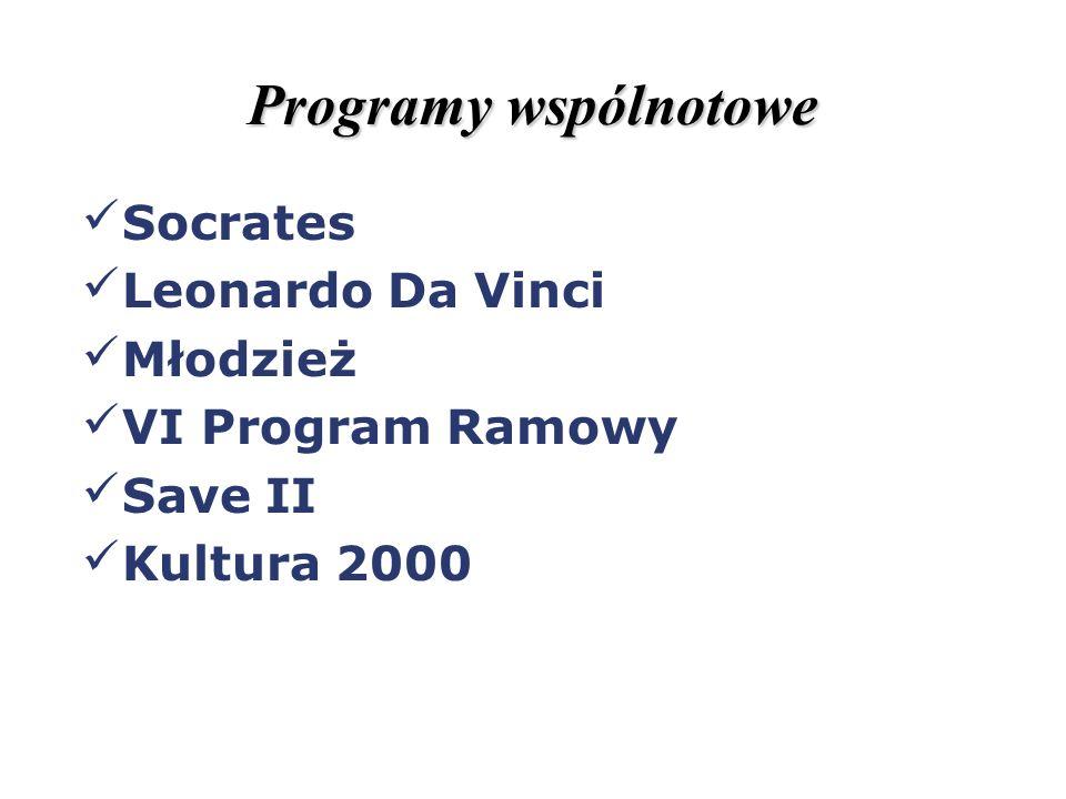 Programy wspólnotowe Socrates Leonardo Da Vinci Młodzież