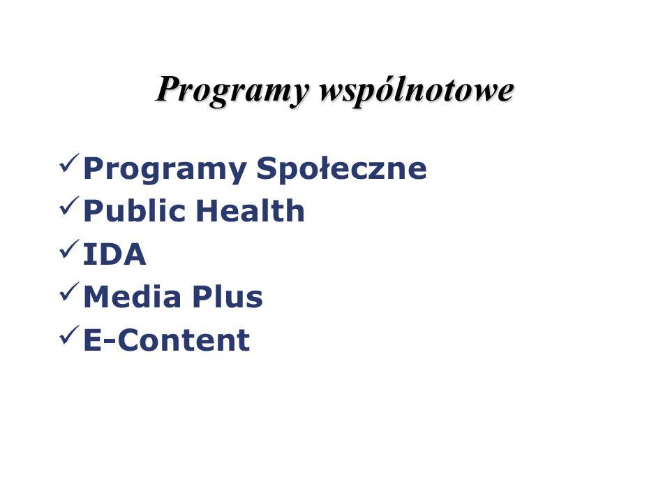Programy wspólnotowe Programy Społeczne Public Health IDA Media Plus