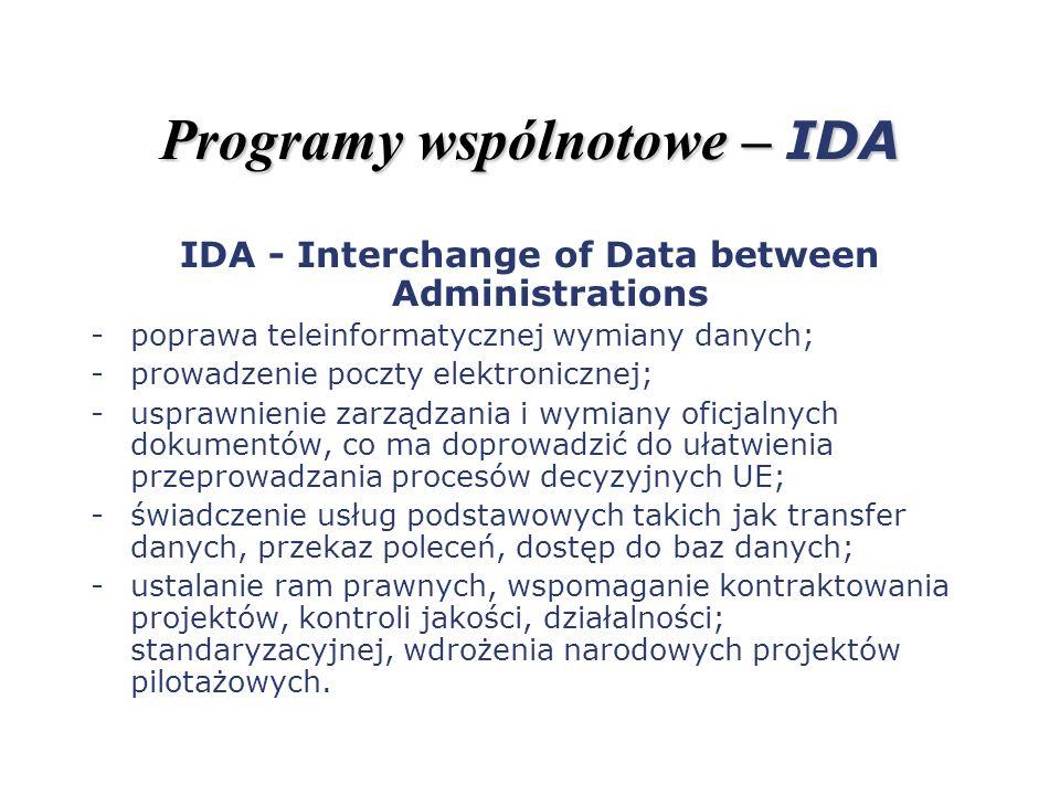 Programy wspólnotowe – IDA