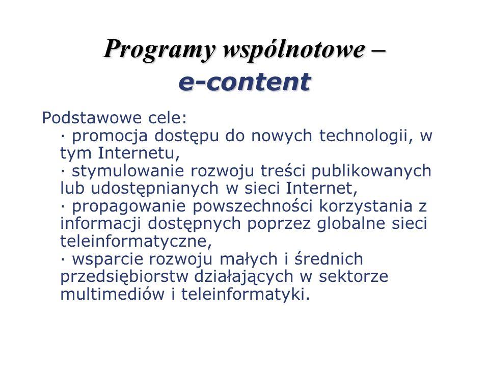 Programy wspólnotowe – e-content