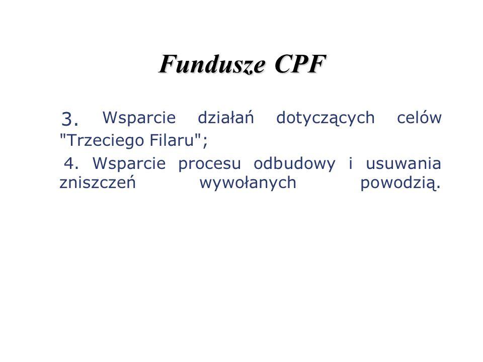 Fundusze CPF 3. Wsparcie działań dotyczących celów Trzeciego Filaru ;
