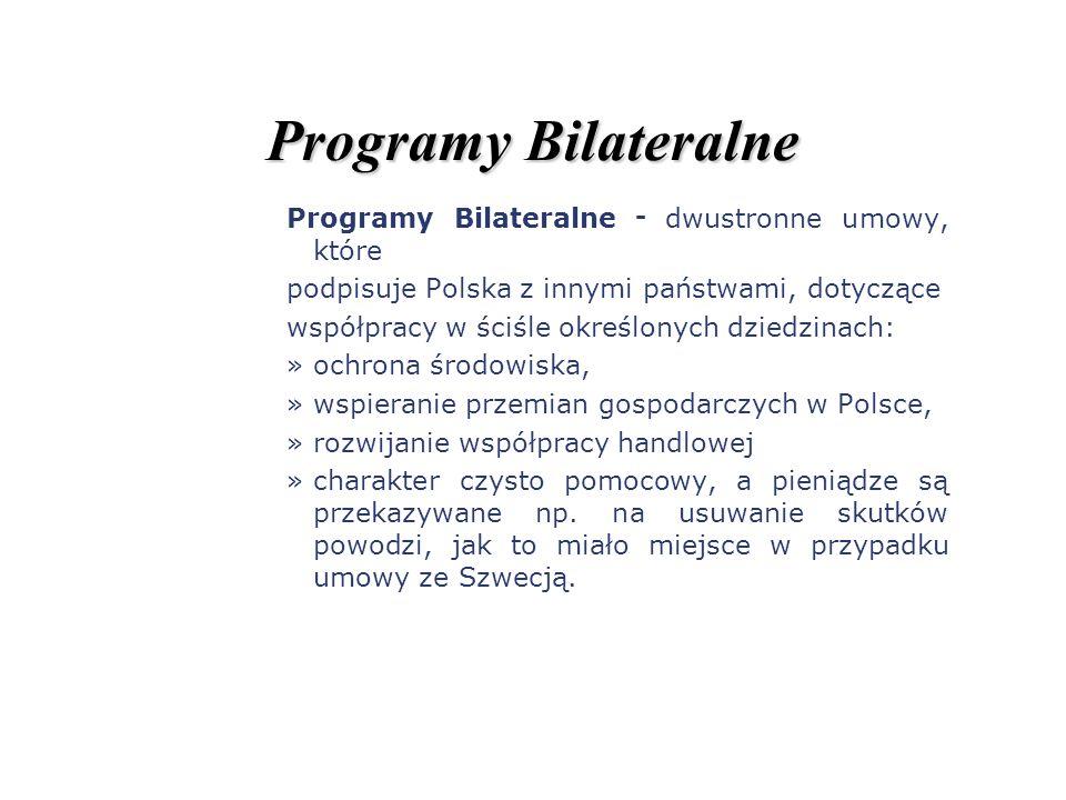 Programy Bilateralne Programy Bilateralne - dwustronne umowy, które