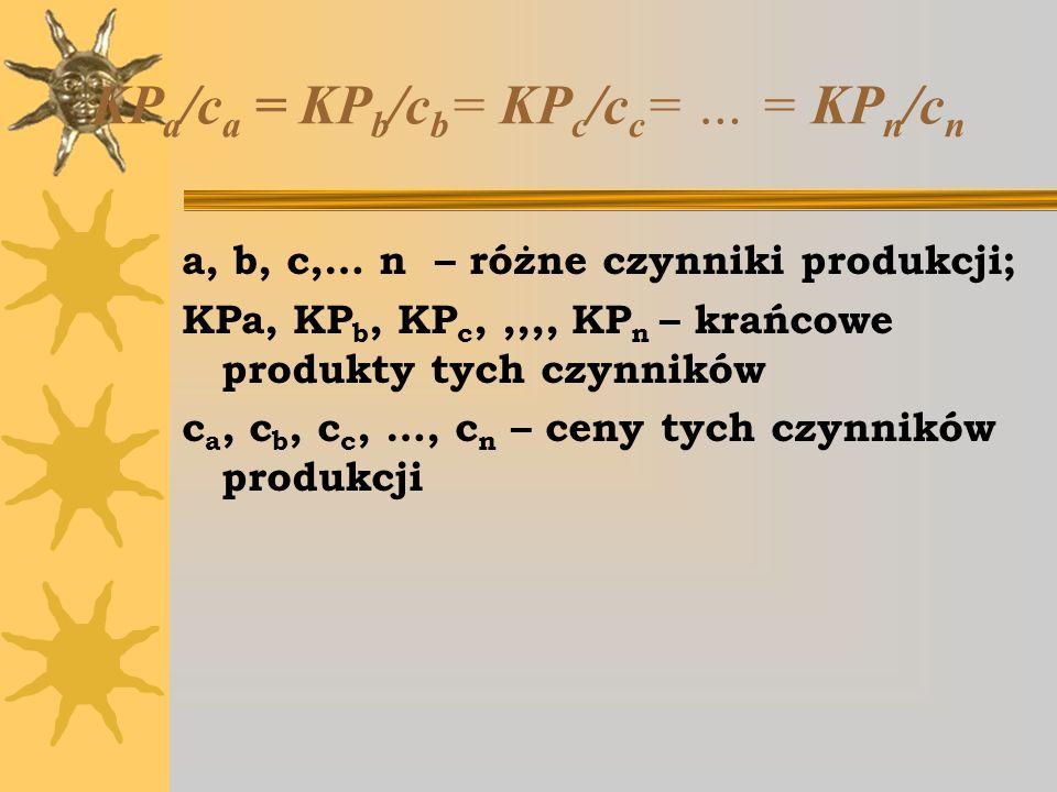 KPa/ca = KPb/cb= KPc/cc= … = KPn/cn