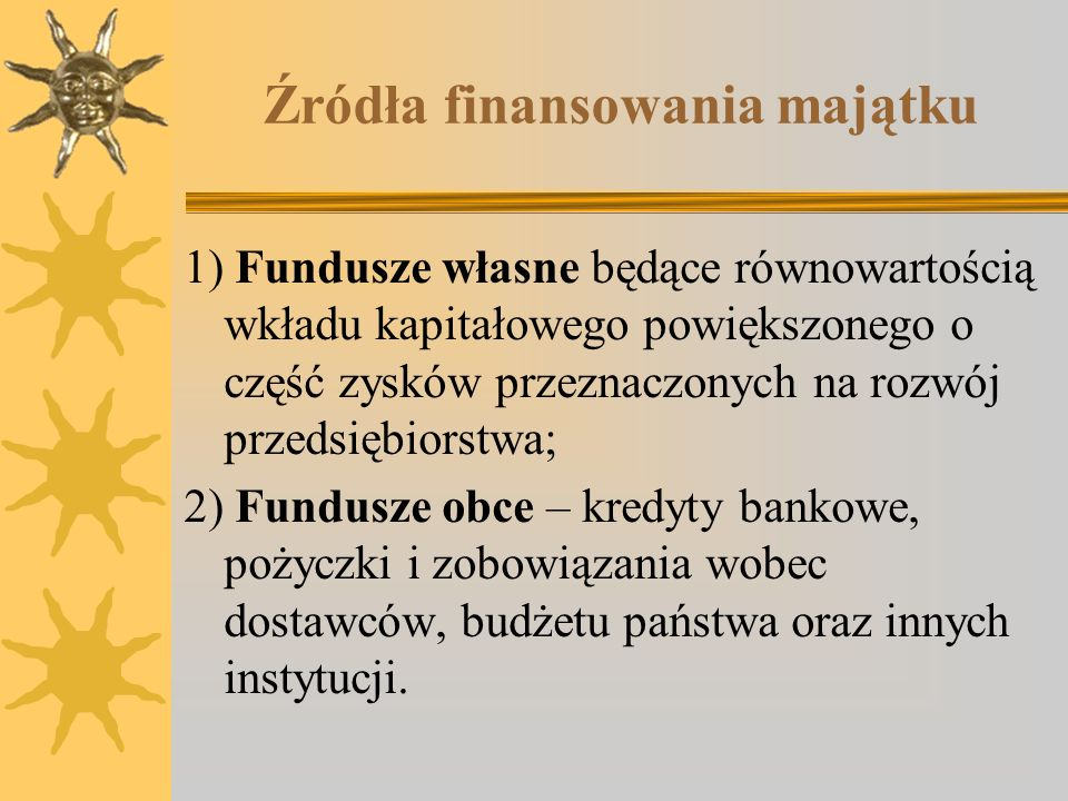 Źródła finansowania majątku