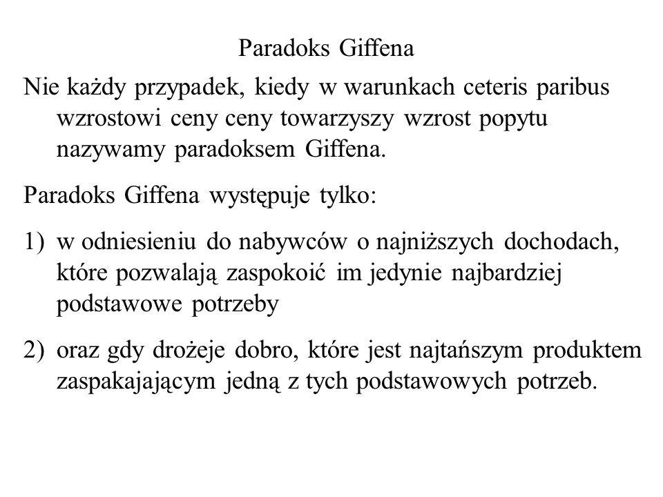 Paradoks Giffena Nie każdy przypadek, kiedy w warunkach ceteris paribus wzrostowi ceny ceny towarzyszy wzrost popytu nazywamy paradoksem Giffena.