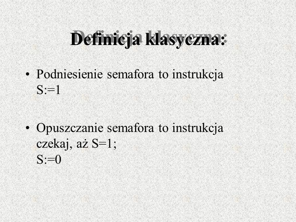 Definicja klasyczna: Podniesienie semafora to instrukcja S:=1