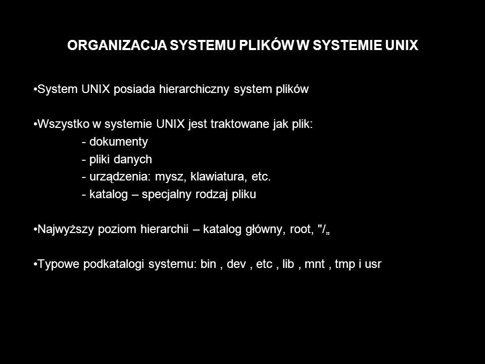 ORGANIZACJA SYSTEMU PLIKÓW W SYSTEMIE UNIX