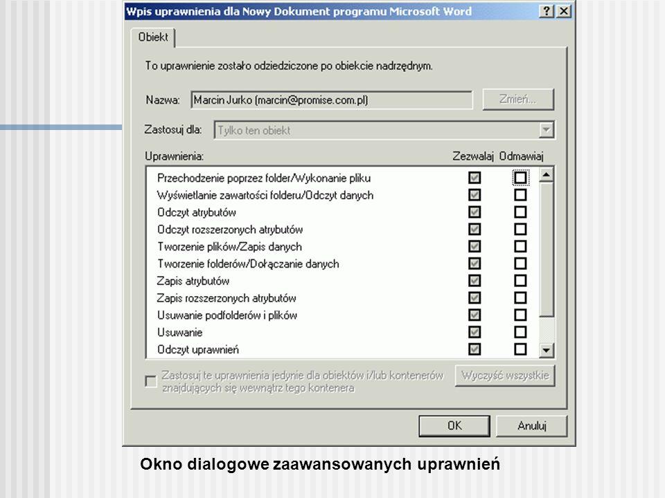 Okno dialogowe zaawansowanych uprawnień