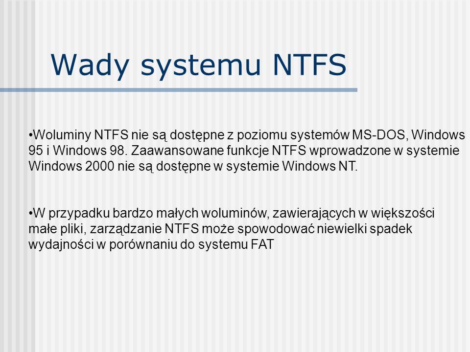 Wady systemu NTFS