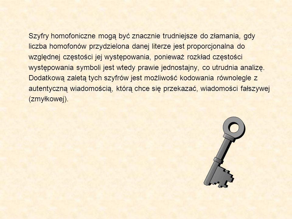 Szyfry homofoniczne mogą być znacznie trudniejsze do złamania, gdy liczba homofonów przydzielona danej literze jest proporcjonalna do względnej częstości jej występowania, ponieważ rozkład częstości występowania symboli jest wtedy prawie jednostajny, co utrudnia analizę.