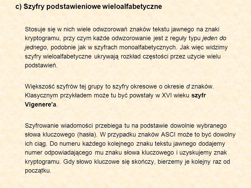 c) Szyfry podstawieniowe wieloalfabetyczne