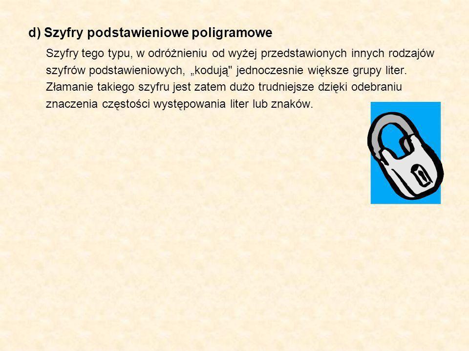 d) Szyfry podstawieniowe poligramowe