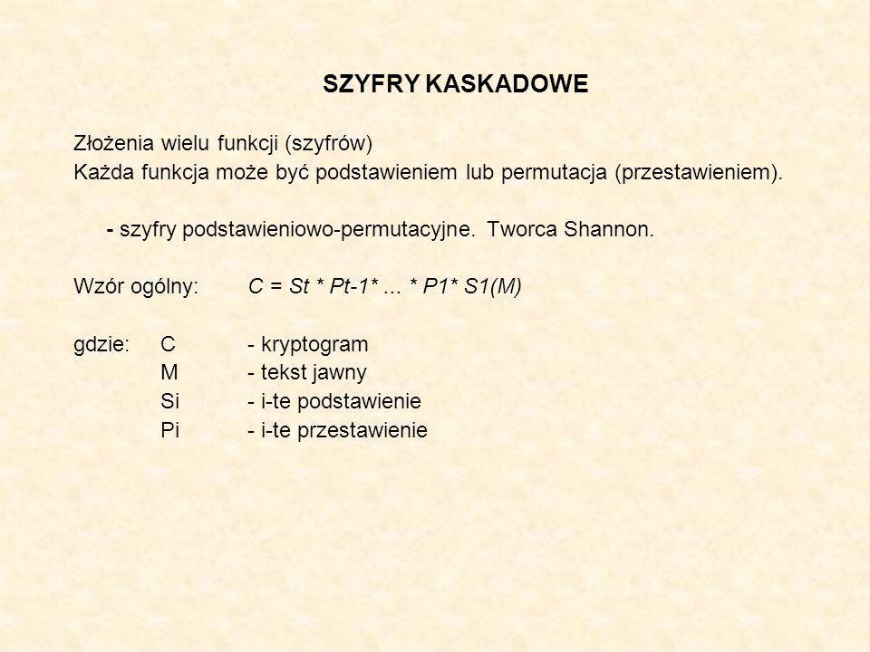 SZYFRY KASKADOWE Złożenia wielu funkcji (szyfrów)