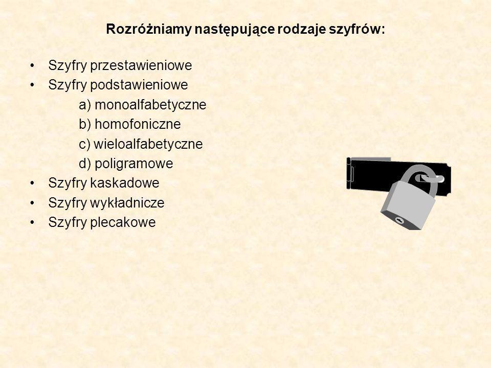 Rozróżniamy następujące rodzaje szyfrów: