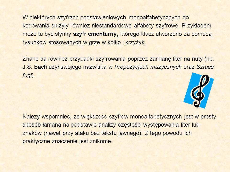 W niektórych szyfrach podstawieniowych monoalfabetycznych do kodowania służyły również niestandardowe alfabety szyfrowe. Przykładem może tu być słynny szyfr cmentarny, którego klucz utworzono za pomocą rysunków stosowanych w grze w kółko i krzyżyk.