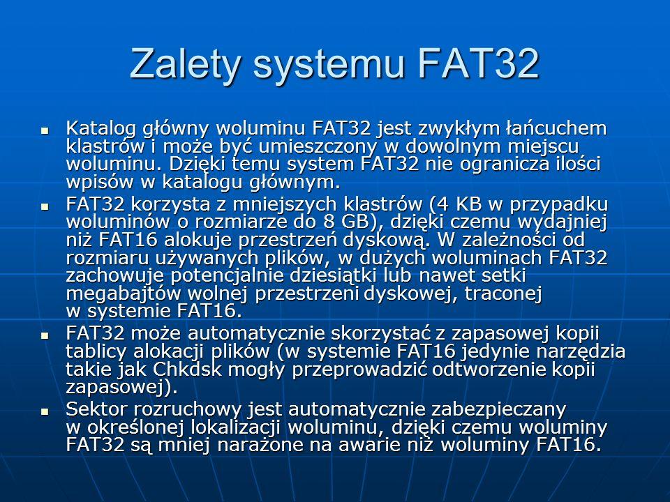 Zalety systemu FAT32
