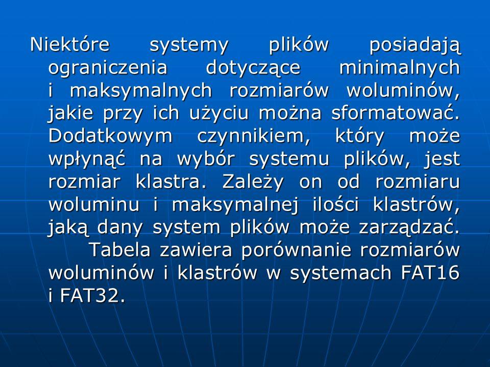 Niektóre systemy plików posiadają ograniczenia dotyczące minimalnych i maksymalnych rozmiarów woluminów, jakie przy ich użyciu można sformatować.