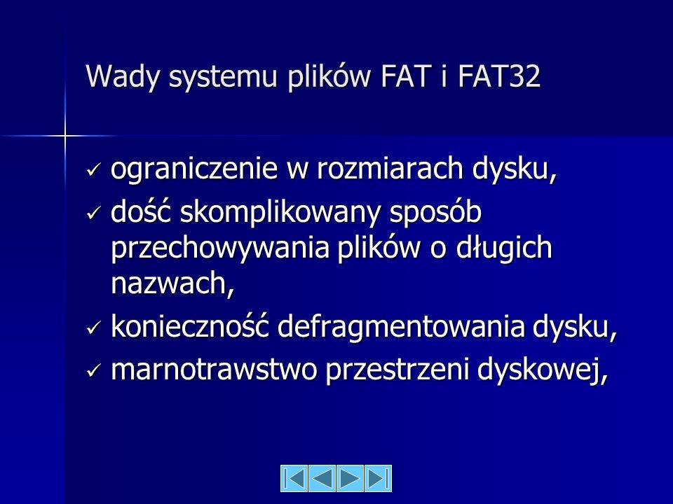 Wady systemu plików FAT i FAT32