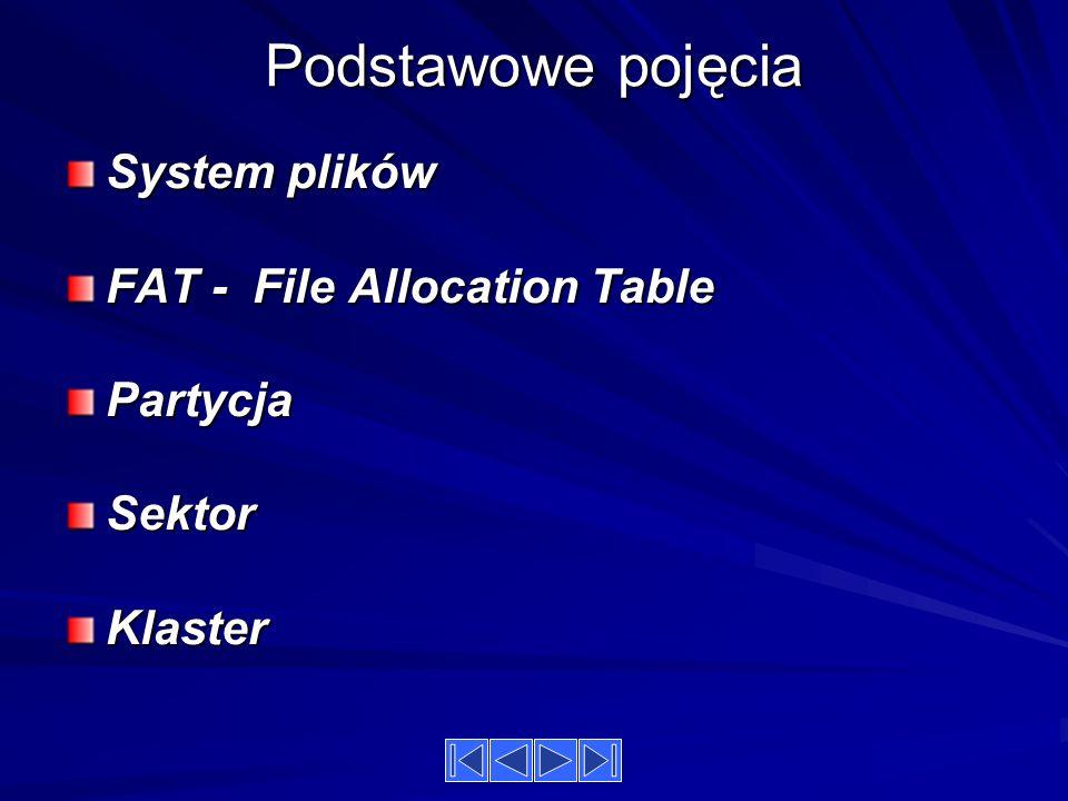 Podstawowe pojęcia System plików FAT - File Allocation Table Partycja