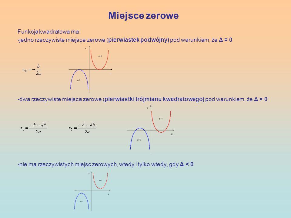 Miejsce zerowe Funkcja kwadratowa ma:
