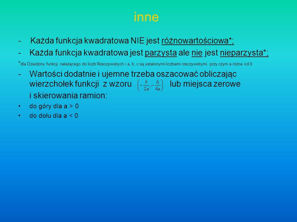 inne - Każda funkcja kwadratowa NIE jest różnowartościowa*;